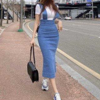 【大特価】ブルー 太ストラップ デニムサロペット ジャンパースカート タイトスカート ワンピース サスペンダー 韓国 通販