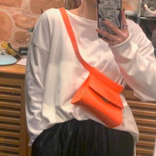 【大特価】オレンジ エナメル調 ウエストポーチ ボディバッグ ショルダーバッグ インポート 通販