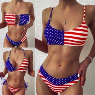 【大特価】3デザイン アメリカンフラッグ 星条旗 バンドゥビキニ トライアングルビキニ 三角ビキニ キャミソールビキニ 水着