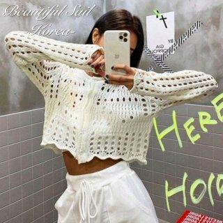【大特価】4色展開 かぎ編み クロシェ編み 長袖 ニットカーディガン クロップドセーター トップス カットソー 韓国