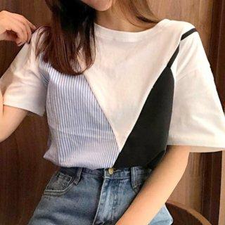 【大特価】ホワイトxブルーxブラック ストライプ ボーダー カラーブロック コントラストカラー レイヤード 重ね着風 Tシャツ 半袖 トップス カットソー 韓国