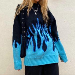 【大特価】ブラックxブルー ファイヤーパターン フレーム ニット セーター プルオーバー トップス インポート 通販