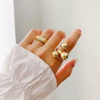 【大特価】2色展開 シルバー ゴールド 3連ボールリング ラップリング ボールデザインリング 指輪 インポートアクセサリー 通販