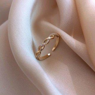 【大特価】ゴールド ラインストーン ビジュー ツイストデザイン リング 指輪 ツイストリング インポートアクセサリー 通販