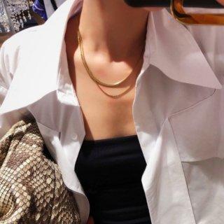 【大特価】2色展開 スネークチェーンネックレス レイヤードネックレス 重ね付けデザイン チェーンネックレス 2連ネックレス