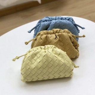 【大特価】4色展開 本革 編み込みデザイン ショルダーバッグ がま口バッグイントレチャートデザインバッグ キルティングデザイン