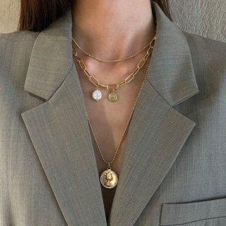 【大特価】ゴールド 3連ネックレス コインネックレス チェーンネックレス レイヤードネックレス フェイクパールチャーム