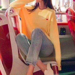 【大特価】7色展開 ハート 刺繍デザイン ワッペン クルーネック オーバーサイズ ニット セーター プルオーバー トップス 韓国