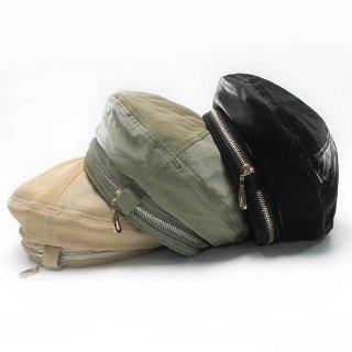 【大特価】3色展開 フェイクレザー 合皮 ジッパー ジップアップ ファスナー ベレー帽 ベレーハット ベレーキャップ インポート 通販