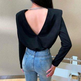 【大特価】ブラック 無地 シンプル チェーン バックレス 背中開き 長袖 キャップスリーブ シャツ ブラウス トップス カットソー インポート 通販