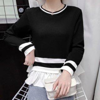 【大特価】3色展開 裾フリル ペプラム ラッフルフリル 長袖 クルーネック ストライプライントリム トップス カットソー 韓国