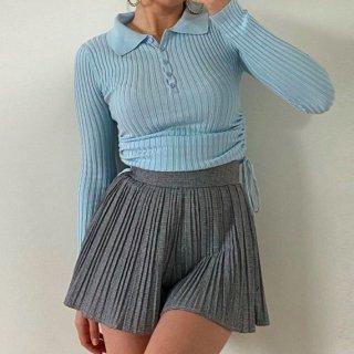 【大特価】ブルー 無地 シンプル リブデザイン 襟付き サイドシャーリング ギャザー レースアップ 編み上げ 長袖 トップス カットソー