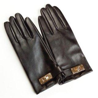 【大特価】2色展開 レザーグローブ 本革 手袋 ゴールドメタル バックル レザー手袋 革手袋 インポート 通販