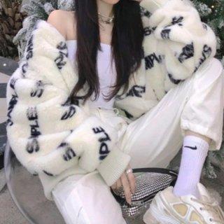 【大特価】ホワイト 総柄 ロゴ sample フェイクファージャケット ジッパー ジップアップ ファスナー ファーブルゾン 韓国