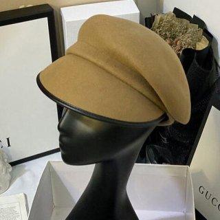 【大特価】2色展開 ウール調 無地 シンプル ブラックレザートリム パイピング マリンキャップ キャスケット 変形 帽子