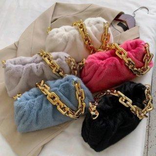【大特価】5色展開 フェイクファー チェーンショルダーバッグ 巾着バッグ ギョウザバッグ ぎょうざバッグ インポート 通販