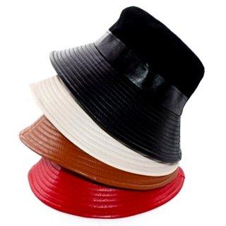 【大特価】4色展開 フェイクレザー 合皮 リブデザイン 異素材切替 コーデュロイ バケハ バケットハット 帽子 インポート 通販