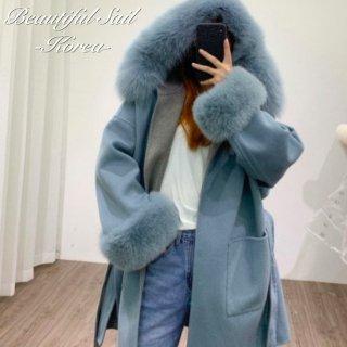 【大特価】高品質 ウール100% ブルーxグレー バイカラー ファースリーブ ファー パーカー フーディー ロングコート ガウンコート 韓国