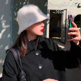 【大特価】10色展開 モヘア フェイクファー 無地 シンプル バケットハット バケハ ファーハット 帽子 韓国 インポート 通販