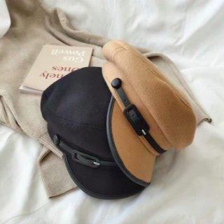 【大特価】4色展開 フェイクレザートリム ベルトストラップ キャスケット マリンキャップ バイカラー 帽子 マリン帽 インポート 通販