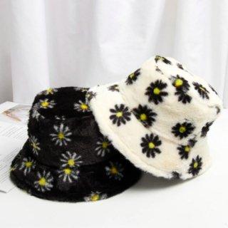 【大特価】3色展開 花柄 フラワー デイジー フェイクファー バケットハット ファーハット バケハ 帽子 インポート 通販