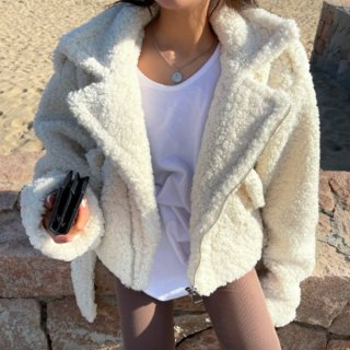 【大特価】ホワイト フェイクファージャケット ボアジャケット プードルファー ライダースジャケット 韓国 インポート 通販