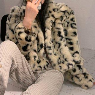 【大特価】ベージュ レオパード柄 ひょう柄 襟付き 長袖 フェイクファージャケット フェイクファーコート 韓国 インポート 通販