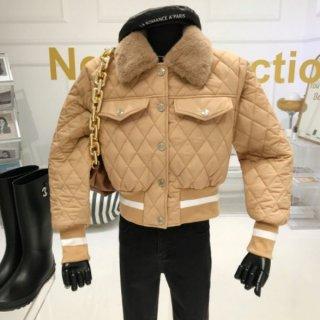 【大特価】3色展開 キルティングジャケット フロントボタン フェイクファーカラー 襟付き ティペット ブルゾン ボンバージャケット 韓国