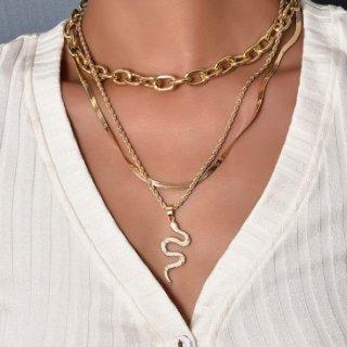 【大特価】ゴールド 3セット スネークチェーンネックレス チェーンネックレス ヘビ スネーク レイヤードネックレス 重ね付けネックレス