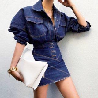 【大特価】ブルー 長袖 デニムシャツ 裾フリンジ フロントボタン デニムミニスカート セットアップ インポート 通販
