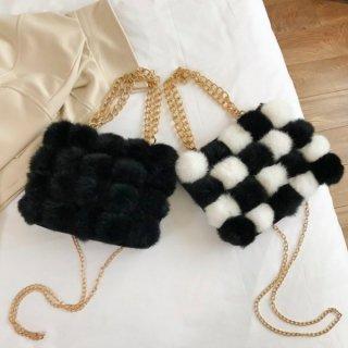 【大特価】2色展開 ブラック チェッカーフラッグ 市松模様 フェイクファーバッグ 2way ショルダーバッグ ファーバッグ チェーンバッグ