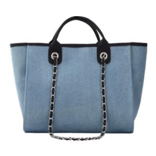 【大特価】2色展開 デニム バイカラー 2way キャンバスバッグ 大容量バッグ トートバッグ ハンドバッグ ショルダーバッグ