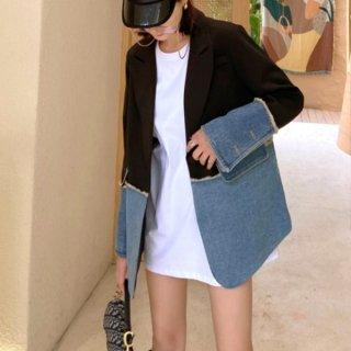 【大特価】ブルーxブラック カラーブロック コントラストカラー テーラードジャケット ブレザー デニムジャケット 韓国