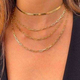【大特価】ゴールド 4連ネックレス レイヤードネックレス 重ね付けネックレス チェーンネックレス スネークチェーンネックレス インポート 通販