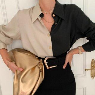【大特価】ベージュxブラック カラーブロック コントラストカラー 長袖 シャツ ブラウス トップス カットソー インポート 通販