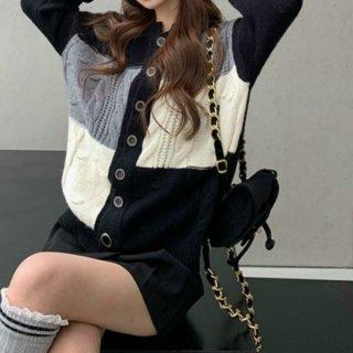【大特価】グレーxブラック カラーブロック コントラストカラー ケーブル編み フロントボタン クルーネック ニットカーディガン セーター 韓国