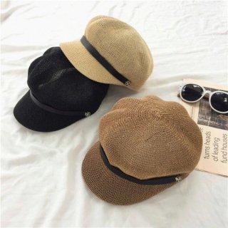【大特価】4色展開 メッシュ リネン ベルトストラップ 異素材切替 キャスケット マリンキャップ マリン帽 帽子 インポート 通販