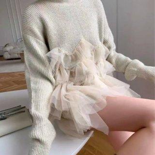 【大特価】ホワイト チュールレース チュチュ 立体フリル ラッフルフリル 異素材切替 ニット セーター プルオーバー トップス 韓国