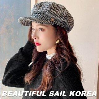 【大特価】2色展開 ツイード調 スター 星 ウール調 キャスケット マリンキャップ 帽子 韓国 インポート 通販