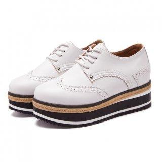 【大特価】3色展開 フェイクレザー 合皮 プラットフォームシューズ オックスフォードシューズ 厚底靴 インポート 通販
