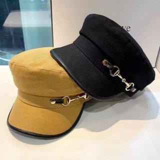 【大特価】3色展開 パイピングトリム メタルロック メタルバックル ビット金具 キャスケット マリンキャップ 帽子 インポート 通販