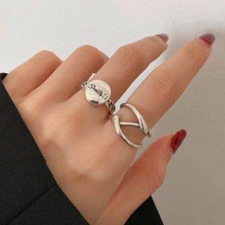 【大特価】シルバー 2本セット ワイヤーリング デザインリング 変形リング smile ラウンドリング コインリング 指輪 セット