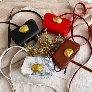 【大特価】4色展開 フェイクレザー 合皮 ゴールドチェーン 2way ハンドバッグ ショルダーバッグ メタルフロント インポート 通販