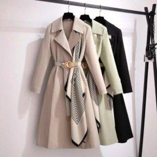【大特価】3色展開 ドッキングデザイン 異素材切替 スカーフ トレンチコート ロングコート ベルト付き ドレープデザイン 韓国