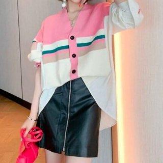 【大特価】ピンクxホワイト カラーブロック コントラストカラー ストライプラインデザイン ボーダー ニットカーディガン セーター トップス 韓国