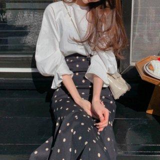 【大特価】2セット ブラックxホワイトトップス カットソー ドット柄 水玉柄 タイトスカート マーメイドスカート セットアップ 韓国