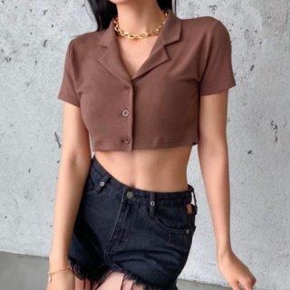 【大特価】ブラウン 無地 シンプル ショート丈シャツ 襟付き ポロシャツ 半袖 クロップドトップス カットソー インポート 通販