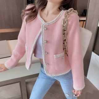 【大特価】3色展開 ピンク ホワイト ブラック トリムデザイン フェイクパールボタン ノーカラージャケット ブレザー 韓国