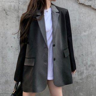 【大特価】グレーxブラック カラーブロック コントラストカラー バイカラー テーラードジャケット ブレザー 韓国 インポート 通販