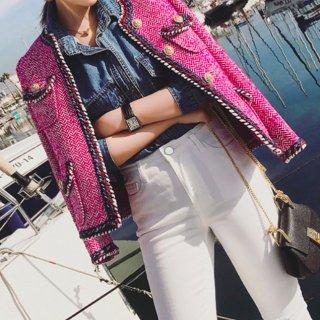 【大特価】2色展開 ピンク ネイビーブルー ツイードジャケット ノーカラージャケット ブレザー ダブルポケット ツイスト トリムデザイン 韓国